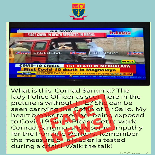 FAKE NEWS CIRCULATING IN SOCIAL MEDIA THAT LADY POLICE OFFICER SEEN CARRYING THE COFFIN OF DR. SAILO WITHOUT PPE.  DT. 16.4.2020