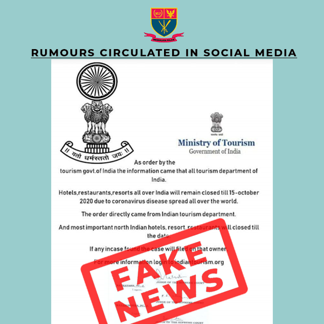 FAKE NEWS CIRCULATING IN SOCIAL MEDIA REGARDING HOTELS, RESTAURANTS, RESORTS ALL OVER INDIA BEING CLOSED TILL 15-OCTOBER 2020 DUE TO CORONAVIRUS SPREAD FROM INDIAN TOURISM DEPT. DT. 17.04.2020