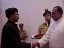 Shri P.J. Routh receiving award