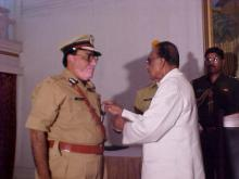 Shri A. K. Mathur, IPS receiving award
