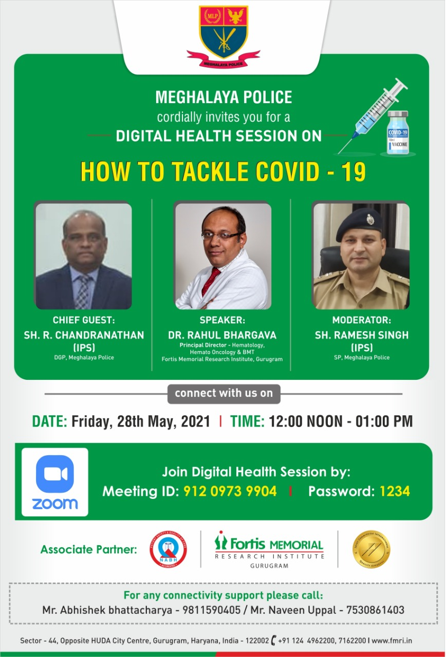 Digital Health Session on How to tackle Covid-19 was held on 28/5/2021. Hon'ble Director General of Police Shri. R. Chandranathan, IPS was the Chief Guest and Dr. Rahul Bhargava was the speaker during the session.